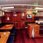 Ships lounge and kitchen – from elm wood
