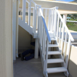 Replace outside stair case, Meranti, hand painted