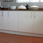 High gloss spray painted, MDF kitchen fronts